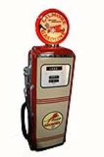Stellar 1950's Gilmore Oil Tokheim model #300 restored service station gas pump. - Front 3/4 - 162673