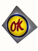 Fabulous 1960's Chevrolet OK Used Cars single-sided light-up dealership sign.  Lights brilliantly! - Front 3/4 - 162778