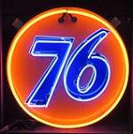 Good looking 1950's-60's Union 76 porcelain service station sign with animated neon.  76 flashes on/off. - Front 3/4 - 162865