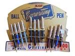 1940's Avon Everwriting Combination Ball Point Pen and Mechanical Pencil display still full of original pens. - Front 3/4 - 163156