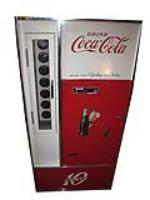 Nifty 1960's restored Coca-Cola ten cent soda machine.   Works and cools! - Front 3/4 - 163185