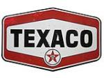 Large late 1950's Texaco Oil double-sided porcelain service station sign. - Front 3/4 - 163247
