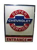 Very desirable vintage Chevrolet Super Service lighted sign in stainless steal frame. - Front 3/4 - 163278