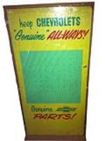 1950's-60's Chevrolet dealership service department display pegboard for keys and Genuine parts. - Front 3/4 - 163306