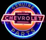 Profoundly rare 1940's Chevrolet Genuine Parts double-sided neon porcelain dealership sign. - Front 3/4 - 163358