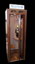 Highly prized 1930's Bell Telephone Wooden Public Telephone Booth complete with operating interior and lighted marquee sign. - Front 3/4 - 170581