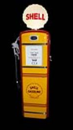 Magnificent 1940's Shell Oil restored Gilbarco service station gas pump with one piece shell globe. - Front 3/4 - 170585
