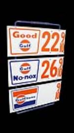 Very neat 1960's Gulf Oil service station three panel tin gas price sign. - Front 3/4 - 170656