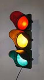 1930's glass lens Municipal traffic light.  Lights and works well. - Front 3/4 - 170714