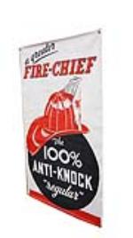 Rare N.O.S. 1940's Texaco Fire Chief Gasoline service station canvas banner. Very unusual version. - Front 3/4 - 170805