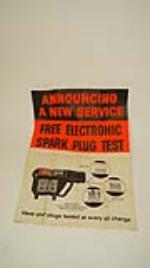 "Neat N.O.S. 1959 Champion Spark Plugs ""Free Plug Test"" service station poster. - Front 3/4 - 170822"