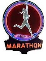 Phenomenal 1940's Marathon Gasoline single-sided porcelain with neon service station sign. - Front 3/4 - 170921