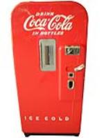 Highly sought after 1940's restored Coca-Cola Vendo 39 soda machine.  A very nice example. - Front 3/4 - 170928