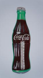 N.O.S. 1950's Coca-Cola die-cut tin three-dimensional bottle shaped thermometer. - Front 3/4 - 174820