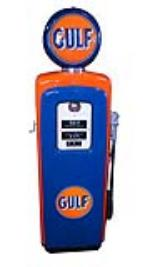 Wonderfully restored late 1940's-early 50's Gulf Oil Wayne service station gas pump. - Front 3/4 - 174853