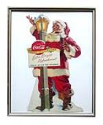 1955 Drink Coca-Cola die-cut thick cardboard Coke Christmas Santa Claus standee sign. - Front 3/4 - 174885