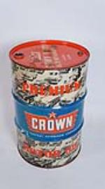 Very cool 1950's Crown Premium Motor Oil fifty five gallon drum with amazing period car graphics. - Front 3/4 - 175048
