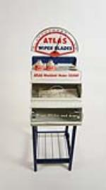 Neat 1950's Standard Oil Atlas Wiper Blades Service metal display cabinet on wheels - Front 3/4 - 177854