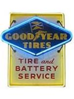 """Sharp Good Year Tires """"Tire and Battery Service"""" single-sided tin painted with neon automotive garage sign. - Front 3/4 - 177909"""