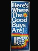 "N.O.S. 1970's Chevrolet OK Used Cars ""Here's Where The Good Buys Are"" dealership banner sign - Front 3/4 - 177932"