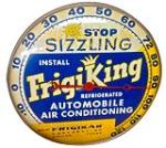 Fabulous late 1950's-early 60's Frigi King Automobile Air Conditioning automotive garage glass faced dial thermometer. - Front 3/4 - 178001
