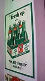 "Killer over-sized N.O.S.1950's  7-up ""Fresh Up with The All-Family Drink"" six self-framed tin sign with six-pack logo - Front 3/4 - 178736"
