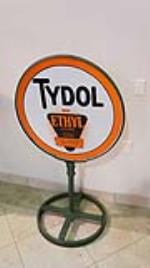 Phenomenal 1930's Tydol Gasoline with Ethyl double-sided porcelain service station curb sign in original stand. - Front 3/4 - 178773