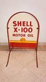 Rare N.O.S. Shell X-100 Motor Oil double-sided porcelain service station curb sign. - Front 3/4 - 178854