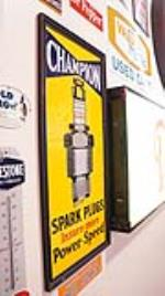 Rare 1930's Champion Spark Plugs over-sized porcelain sign with  frame. - Front 3/4 - 178873
