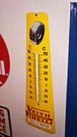Excellent 1950's Pirelli Tires vertical porcelain automotive garage thermometer with graphics. - Front 3/4 - 178907