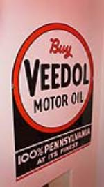 1930's Veedol Motor Oil double-sided porcelain service station sign. - Front 3/4 - 178917