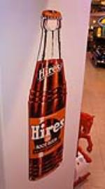 N.O.S. 1940's-50's Hires Root Beer single-sided die-cut tin bottle shaped sign.  Found unused! - Front 3/4 - 178957