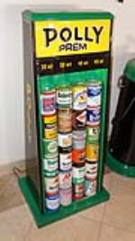 Beautifully restored circa 1940's Polly Oil lighted service station fuel island oil can display rack - Front 3/4 - 179084