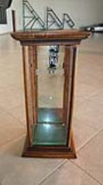 Turn of century Humo Cigars etched advertising glass general store wooden display cabinet. - Front 3/4 - 179154