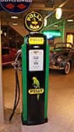Restored 1940's Polly Gas service station gas pump by Bennett with lit panels. - Front 3/4 - 179275