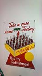 "N.O.S. 1952 Coca-Cola ""Take Home a Case"" single-sided tin sign with house graphic. - Front 3/4 - 179321"