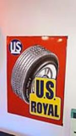 1950's U.S. Royal Tires vertical porcelain service station sign with tire graphic. - Front 3/4 - 179341
