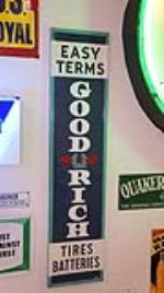 "1937 Goodrich Tires ""Easy Terms"" ""Tires Batteries"" vertical tin automotive garage sign. - Front 3/4 - 179342"