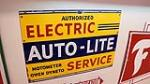 Circa 1930's-40's Auto-Lite Electric Service double-sided porcelain automotive garage sign. - Front 3/4 - 179349