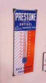 1960 Prestone Antigel Anti-Freeze single-sided porcelain garage thermometer. - Front 3/4 - 179380