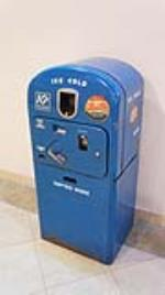 Scarce all original late 1940's-early 50's Pepsi-Cola Vendo 27 soda machine on stand. - Front 3/4 - 179407