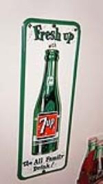 Incredible N.O.S. 1958 7-up Soda vertical tin sign with bottle graphic. - Front 3/4 - 179434