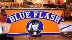 Rare 1930's Blue Flash Oil Company of West Virginia double-sided porcelain service station sign featuring attendant logo. - Front 3/4 - 179483