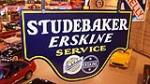 Late 1920's Studebaker Erskine double-sided porcelain dealership sign. - Front 3/4 - 179554