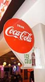 N.O.S. 1956 Drink Coca-Cola Ice Cold single-sided tin flange sign with bottle graphic. - Front 3/4 - 179567