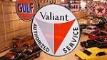 N.O.S. 1960 Plymouth Valiant Authorized Service double-sided porcelain dealership sign. - Front 3/4 - 179737