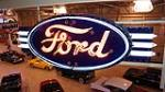 Magnificent 1930's Ford Automobiles double-sided neon porcelain dealership sign - Front 3/4 - 179891