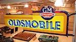 1940's GM Hydramatic Oldsmobile double-sided neon porcelain dealership sign - Front 3/4 - 179893