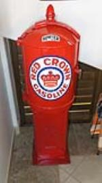 Late teens restored Bowser Red Crown Gasoline filling station gas pump. - Front 3/4 - 180088