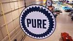 Stylish 1930's-40's Pure Oil double-sided porcelain service station sign in the original hanger. - Front 3/4 - 180264
